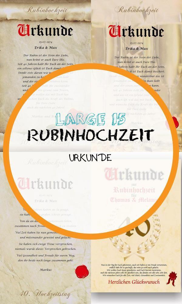 Large 15 Rubinhochzeit Urkunde