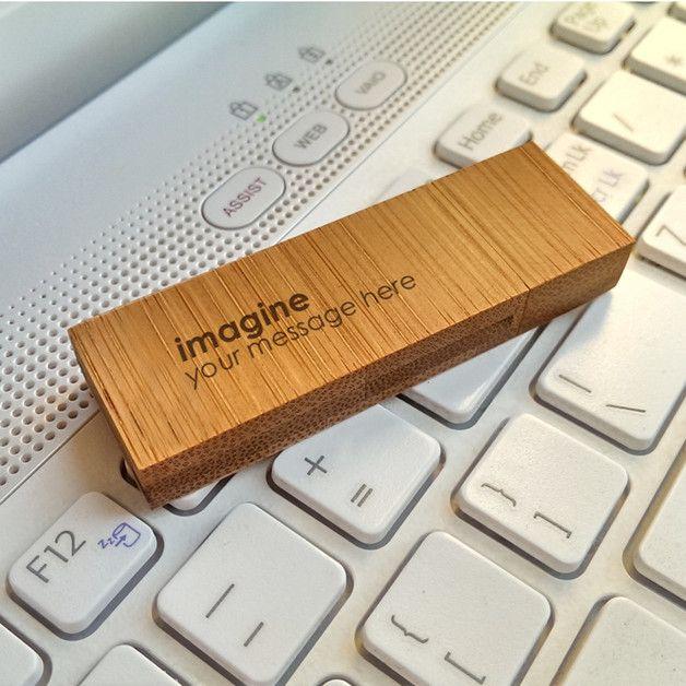 Geburtstag - Bamboo XL USB stick gravur | Holz | 64GB USB 3.0 - ein Designerstück von ZaNa-Design bei DaWanda
