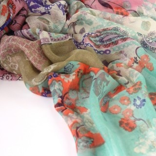 'Spring Paisley' Silk & Cashmere Scarf, by Lillian Norah for Juniper Hearth. Pastel pink, aqua turquoise and taupe combine on a delicate, fresh, summery floral print. Silk screen printed by hand. $195.