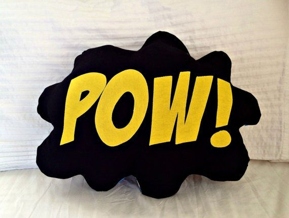 Comic Bubble Superhero Pillow, Decorative Pillow,  Batman, Room Decor, Kids Pillow, Geek, Old School