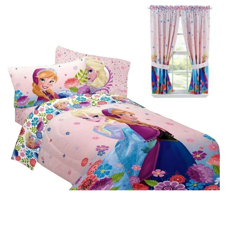 Disney Frozen Bedroom Decor - Anna & Elsa Comforter & Curtains Bundle