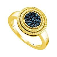 0.25 CT 18k Yellow Gold Over Sterling Silver Round Blue Diamond Cluster Ring Sz7