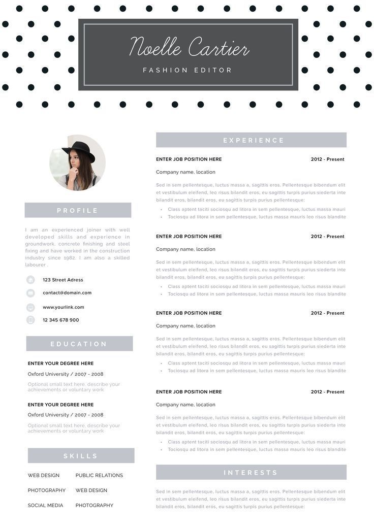 resume template instant download resume with photo creative resume