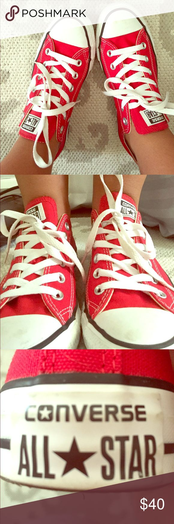 Red converse Unisex red converse, great condition! Men's size 6 and woman's size 8! Converse Shoes Sneakers