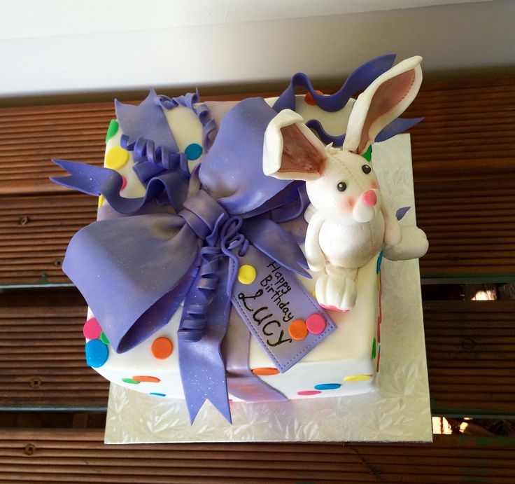 Birthday Present Cake with Fondant Bunny Topper