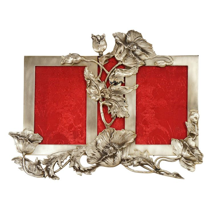 Sterling Silver  Art Nouveau Double Picture Frame, 1890,  Realistic poppies in all stages of blooming surround and support this piece