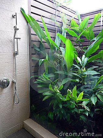 Banheiro Semi ao ar livre do recurso Um banheiro ao ar livre parcial original de um recurso tropical, com o jardim pequeno do ar aberto completamente de plantas verdes luxúrias, separou da área do chuveiro por uma placa de vidro. Iluminação natural do quarto do ar aberto.