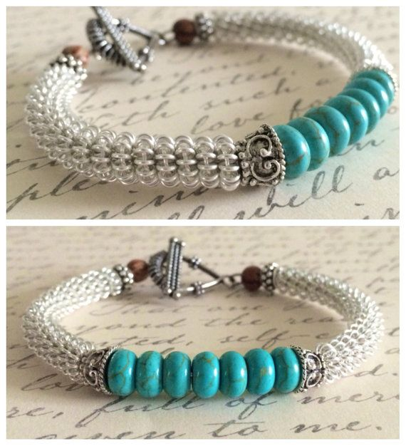 Turquoise Bangle Coiled Bracelet Jewelry Gift by RavensMoonDesigns