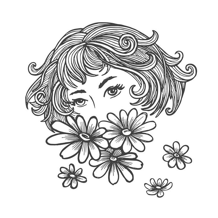Vector hand drawn girl with daisies