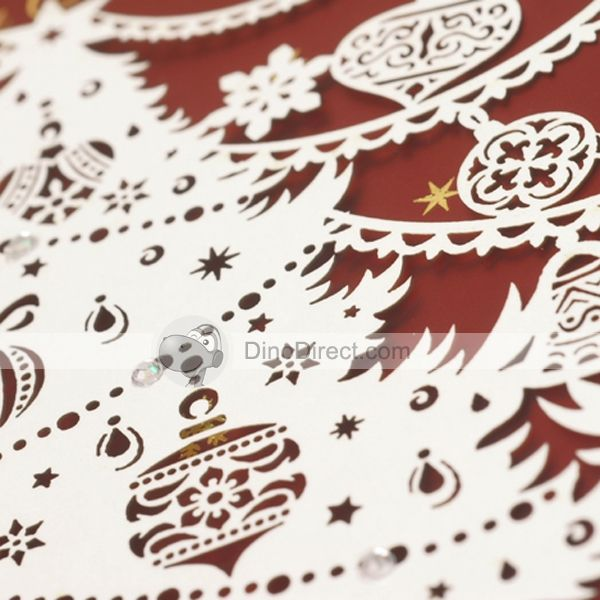 Eno Greeting Delicate Papercut Decor Cover Christmas Greeting Cards