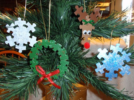 Christmas Puzzle Piece Ornaments project for holiday party at school