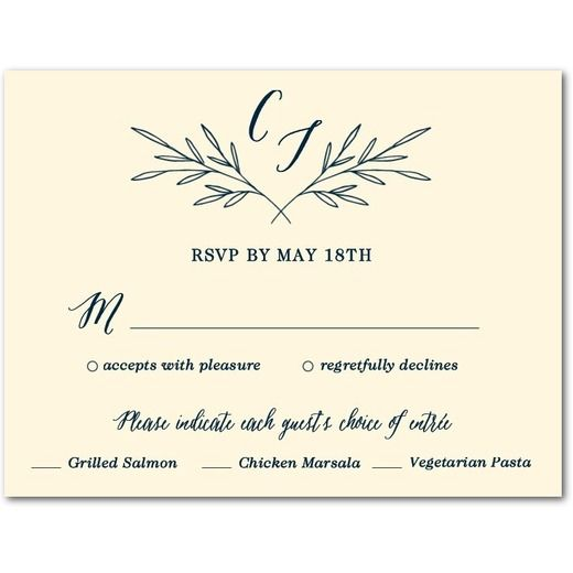 Simple Branches - Thermography Wedding Response Cards - Magnolia Press - Ecru - Neutral : Front