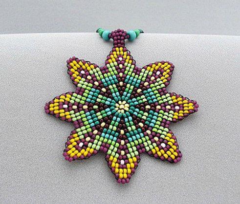 Mandala Flower Necklace, Seed Beaded Mandala, Art Jewelry, Flower beadwork, Yellow and Turquoise Pendant.