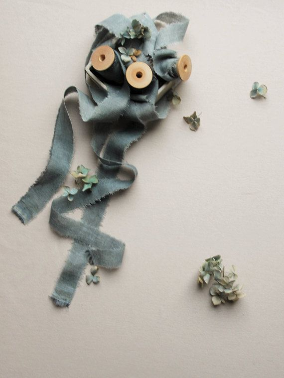 SKY BLUE hand-dyed linen ribbon