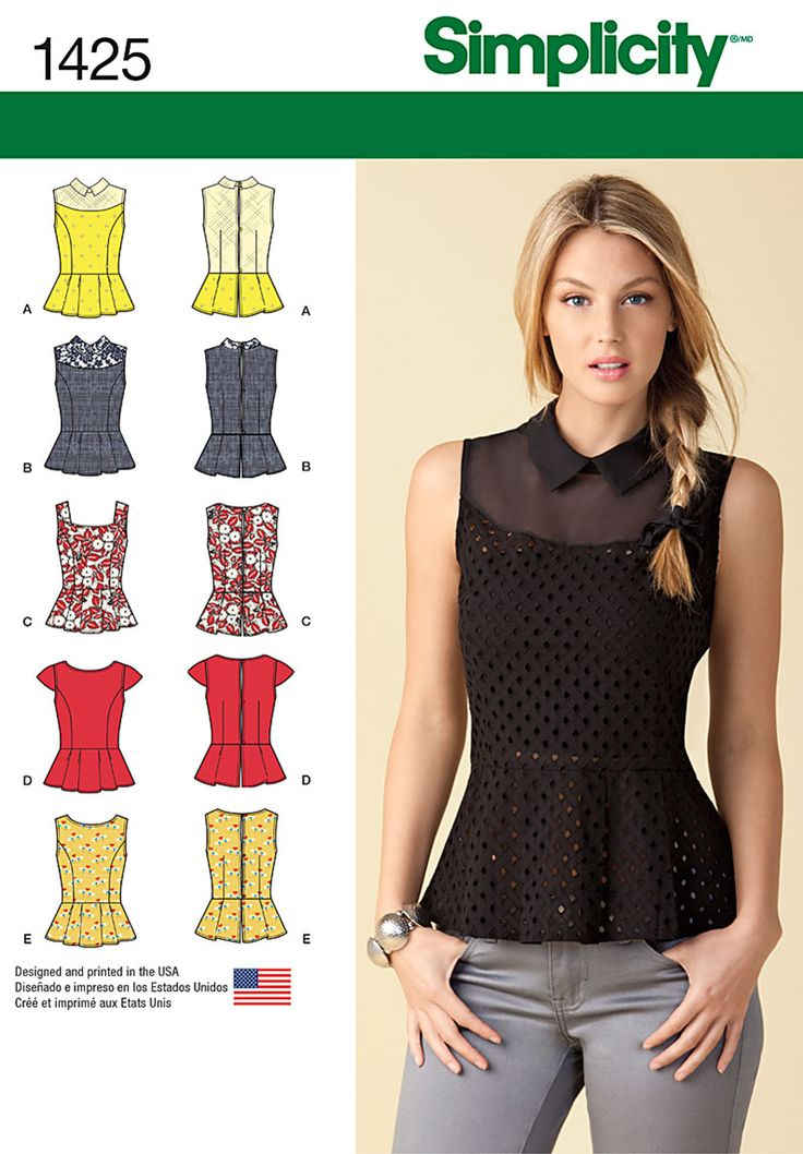 Simplicity Misses' Peplum Tops with Neckline Variations 1425