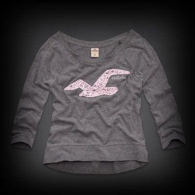 Hollister  Shaws Cove Shine T-Shirt Tシャツ フロントのホリスターのカモメロゴがレースになっていてとってもキュートで個性的なデザイン!