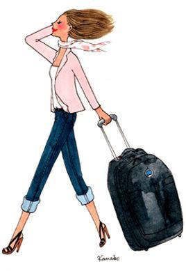 Illustration kanako femme qui s'en vas avec valise delsey