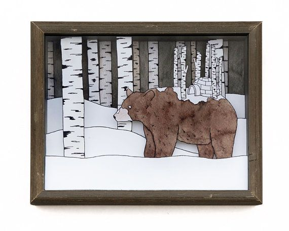 Snow Drifter printed shadow box by Sadly Harmless