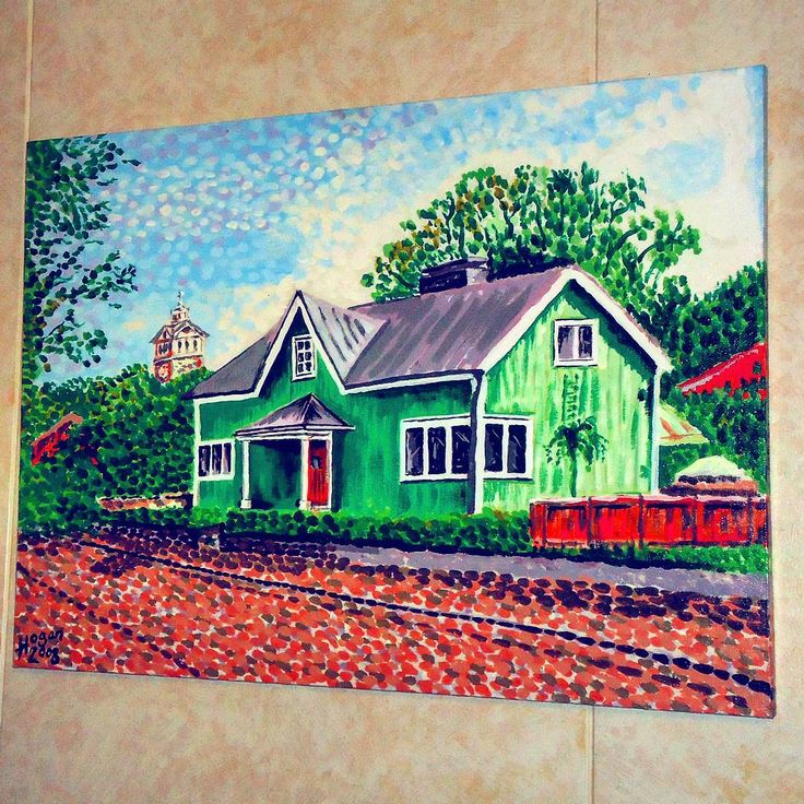 ...a painting of a house in my neighbouring town of Ekenäs in Finland. 'The Green House' (acrylic-on-canvas), ...well it was green when I painted it! 😀🎨 #finland100_igchallenge 47/100 ..posting a series of random images (including some of my own art) from or associated with Finland to celebrate the country's 100th birthday! #art #artist #finland #raasepori #canvas #konst #taide #raseborg #artcollection #fineart #artcollective #ekenäs #artistlife #artlife #painter #paintings  #finnish