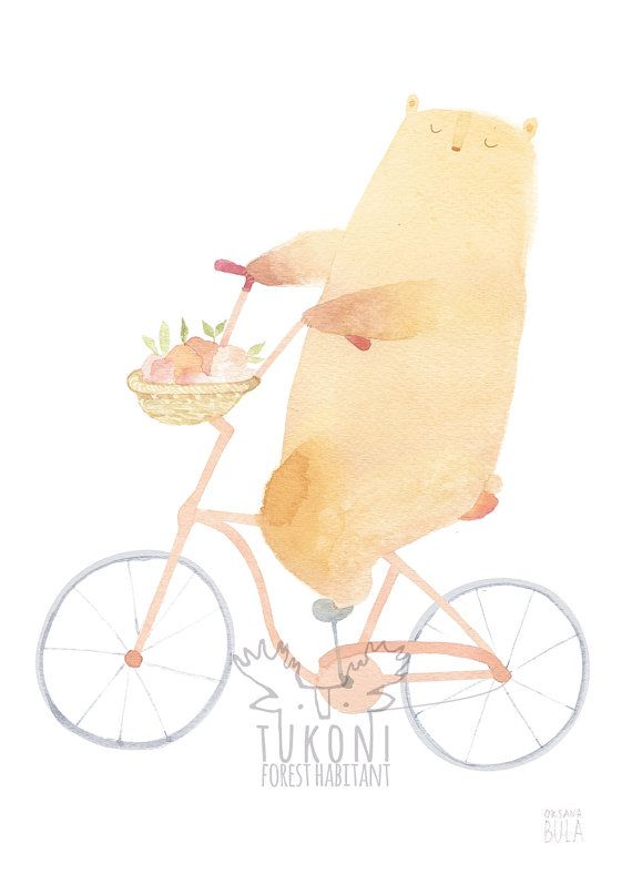 Peach the bear on bike art print by TukoniTribe on etsy