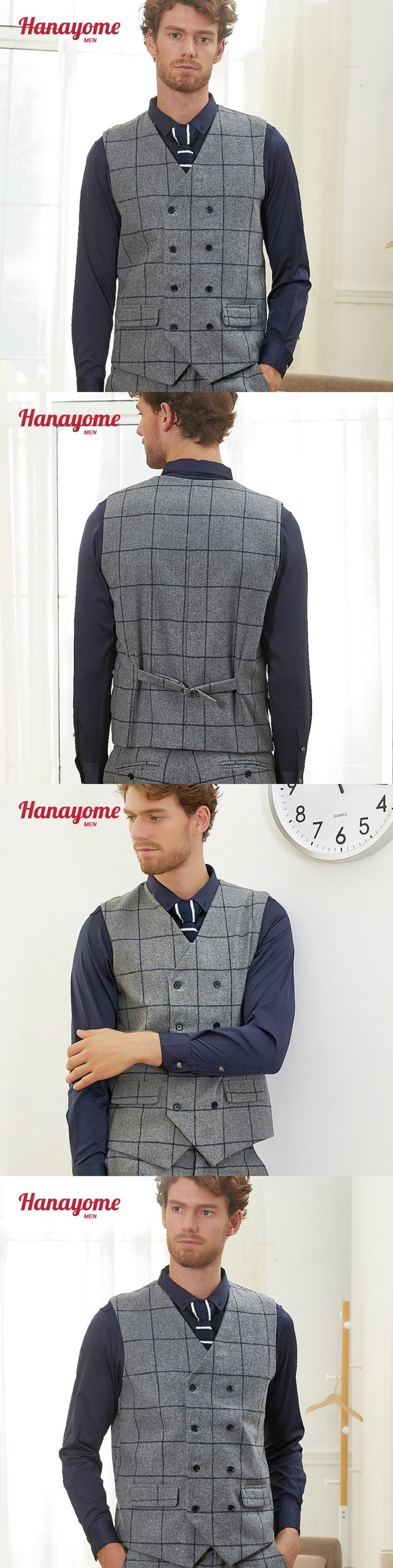 Men's Double-breasted Grey Suit Vest Regular Fit Checked Suit Waistcoats Formal Party Tuxedo Blazer Adjustable Waistcoats SI123