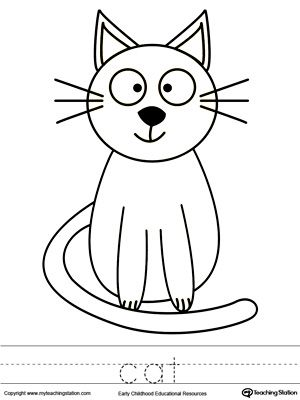 Cat Coloring Page and Word Tracing Drawing Coloring