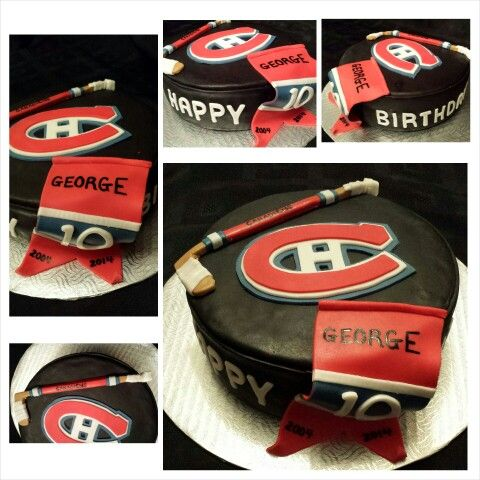 Anna's cake creations!  Montreal Canadiens hockey puck cake with stick and banner!
