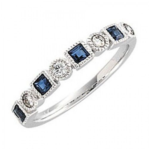 diamond and saphire anniversary bands | ... Rings > Bridal Anniversary Band w/ Genuine Sapphire and Diamond in 14