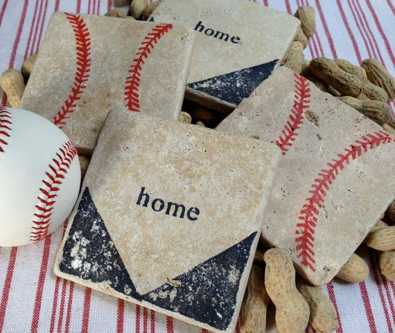 BASEBALL Natural Stone Coaster Set 4 Beer by DandWstonecrafts
