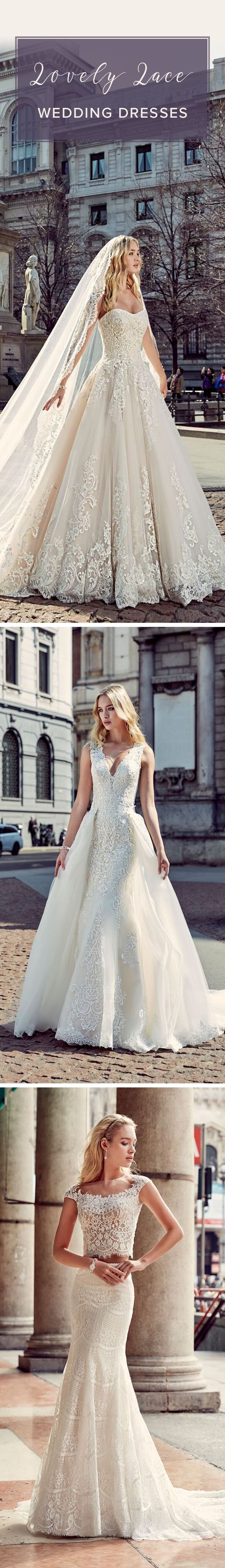 10 Lovely Lace Wedding Dresses - Looking for the perfect lace wedding gown? Fall in love with @eddkybridal's Italian-inspired wedding dresses on @weddingwire!