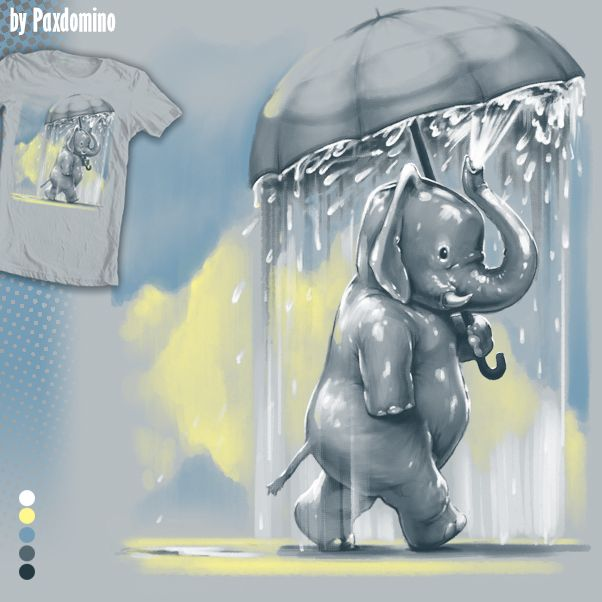 The Rainmaker by Paxdomino. This elephant is determined to be sad! Design up for voting at http://shirt.woot.com/derby/entry/98765/the-rainmaker until 3/9/17.
