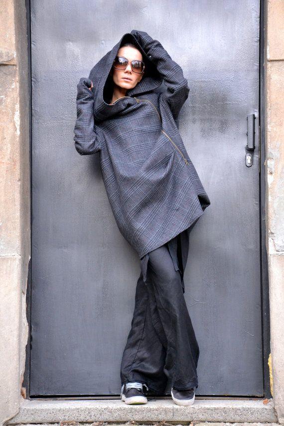 Asymmetric Extravagant Plated Dark Grey Hooded by Aakasha