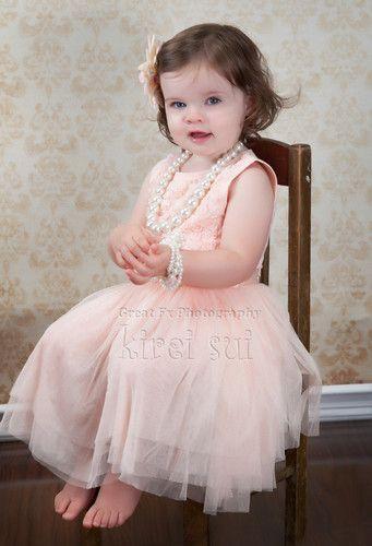 Girls Vintage Peach Pink Rosettes Chiffon Tutu Pageant Birthday Party Dress 2 7 | eBay