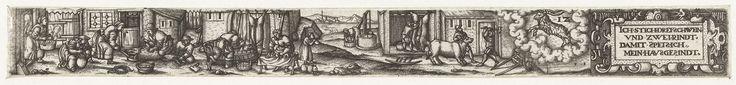 Anonymous | December, Anonymous, 1584 | Uit een serie van twaalf prenten, de verbeelding van de maand December. Links het slachten van een varken en het maken van bloedworst, in het midden het slachten van een koe, rechts het sterrenbeeld Steenbok en een cartouche met de tekst: Ich stich drei Schwein und zwei Rindt, Damit speis ich mein Hawsgesindt.