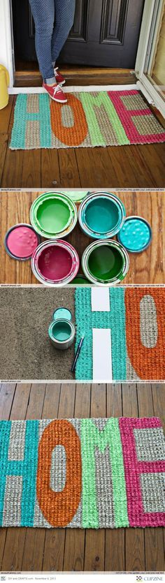 I can think of several ideas for this DIY Welcome Mat. Good idea for using left over paints
