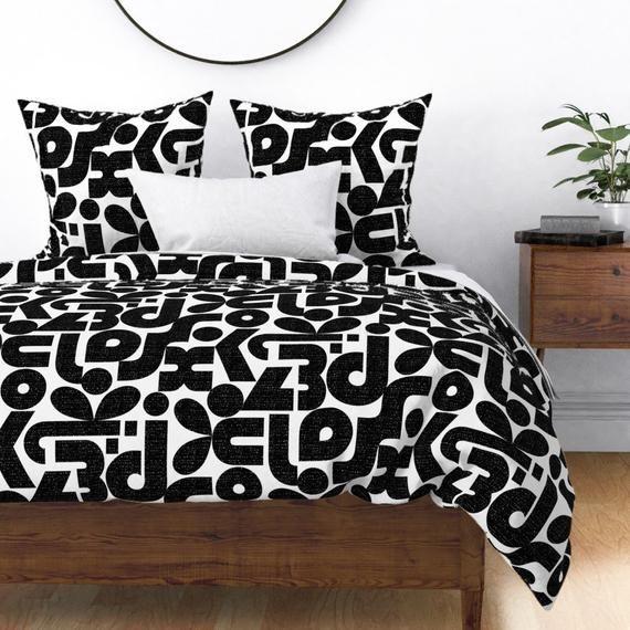 Graphic Duvet Cover Talk Of The Bauhaus Black And White By Etsy In 2020 Duvet Covers White Duvet Covers Duvet