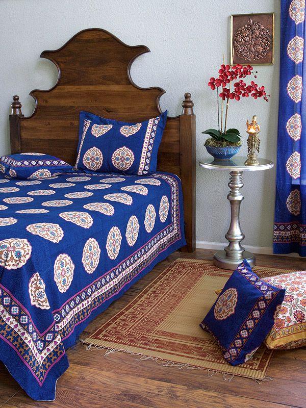 Blue Bedspread, Moroccan Bedspread, Vintage Bedspread, King Cotton Bedspread | Saffron Marigold