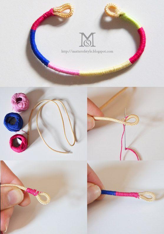 How to Make a Yarn Bracelet - Tutorial ❥ 4U // hf