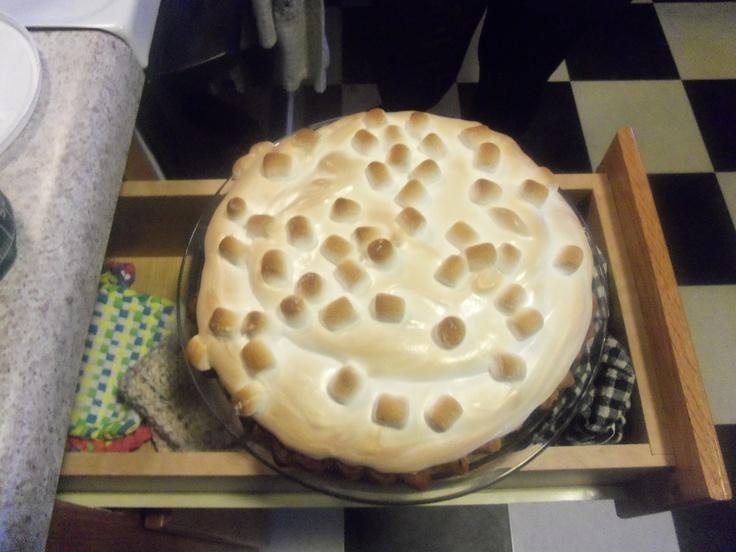 coconut sweet potato pie with marshmallow meringue