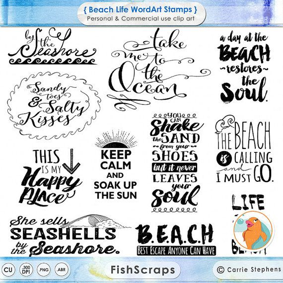 New Beach Typography Word Art, Summer Inspirational Quote, Digital Scrapbook Title, Project Life WordArt Digital Stamp Printable, DIY 9