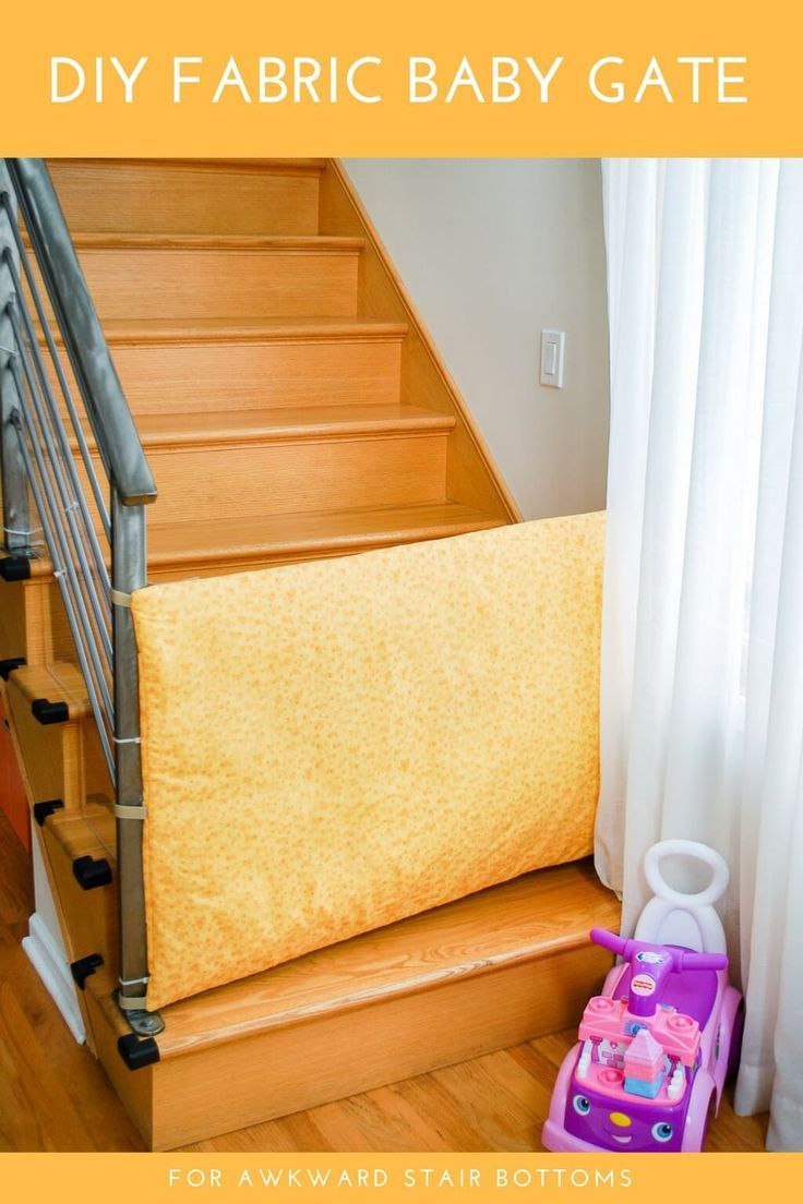DIY fabric baby gate free sewing pattern for awkward stairs. Easy to sew. Only use on stair bottoms with close parental supervision to slow down little climbers. #diy #fabric #baby #gate #safety #pets #dog #sewing #free