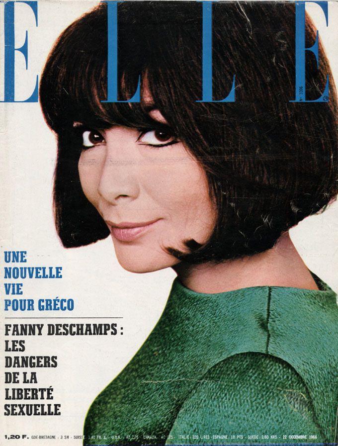 Juliette Gréco en couverture de Elle n°1096 de 1966, photo Just Jaeckin
