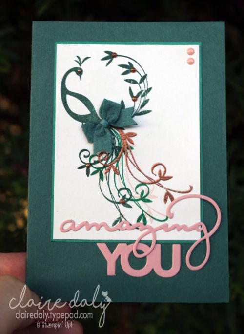Stampin Up Beautiful Peacock stamp set and Celebrate You Thinlits. Card by Claire Daly Stampin' Up! Demonstrator Melbourne Australia. #stampinupaustralia #saleabration2018 #stampinup2018cards #stampinup2018cardideas