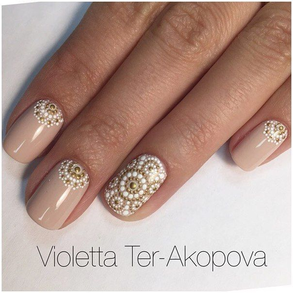 Boho nude nail w/ gold  ♡