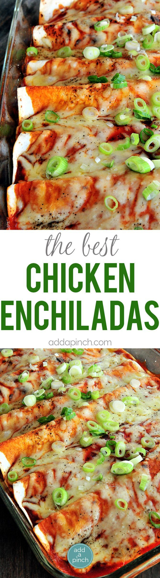 Chicken Enchiladas Recipe - Chicken Enchiladas make a perfect weeknight meal! Seriously the BEST chicken enchilada recipe and one the whole family will love! It will become a favorite! // addapinch.com