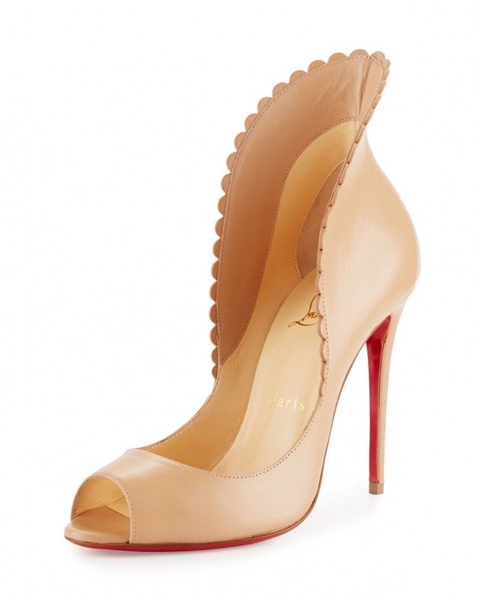 Christian Louboutin Pijonina Scalloped 100mm Red Sole Pump, Nude | Buy ➜ https://shoespost.com/christian-louboutin-pijonina-scalloped-100mm-red-sole-pump-nude/