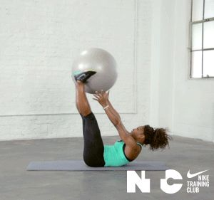 fitnessgifs4u:  Fit Apps: Nike Training Club's Core Power with Serena Williams One minute of stability ball back extensions One minute of stability ball knee tucks One minute of stability ball transfers One minute of resistance band hip extensions One minute of resistance band lateral strap replaces