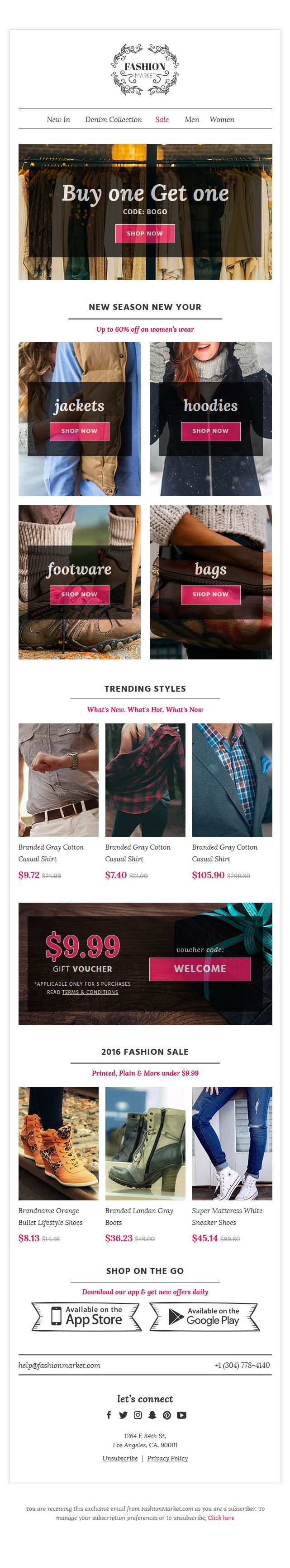 Cool free ecommerce email template pack by @icondice