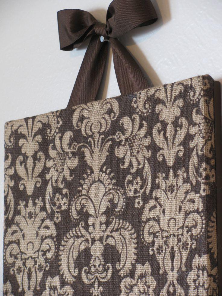 "Printed Brown Damask Burlap Cork Board with Decorative Brown Ribbon 12"" x 12"". $39.00, via Etsy."