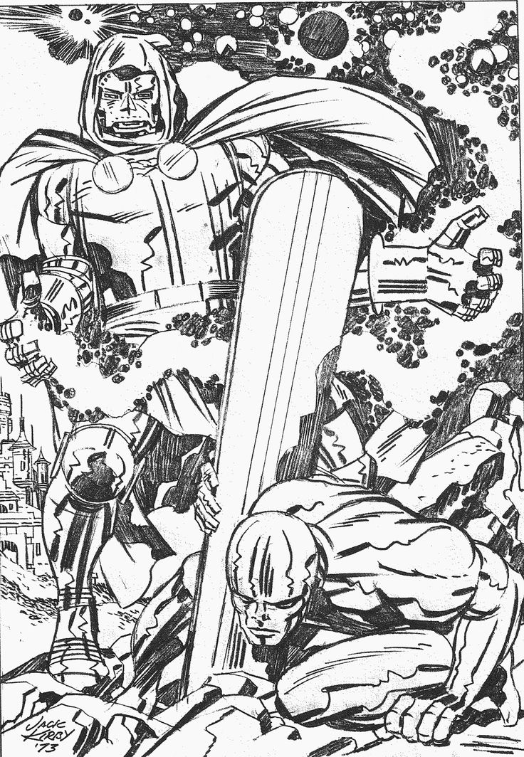 Silver Surfer vs Doctor Doom - Pencils by Jack Kirby.